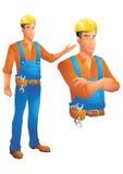 Byggnadsarbetareanseendeframlägga och byst med korsade armar Royaltyfri Bild
