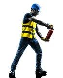 Byggnadsarbetarebrandsläckarekontur Royaltyfri Fotografi