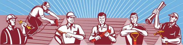 Byggnadsarbetaredetaljhandlare Retro stock illustrationer
