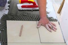 Byggnadsarbetaren belägger med tegel hemma, bindemedel för tegelplattagolvet royaltyfri bild