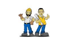 Byggnadsarbetarevektor royaltyfri illustrationer