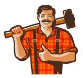 Byggnadsarbetarevektorlogo arbetare-, arbetare- eller hovslagaresymbol royaltyfri illustrationer