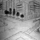 Byggnadsblyertspennateckning som göras av en 5th väghyvel stock illustrationer