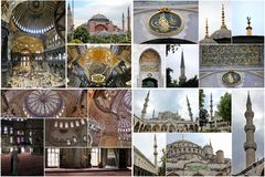 byggnadscollage istanbul Arkivfoto