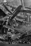 Byggnadsförstörelse i svartvitt Royaltyfria Bilder