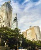 Byggnadsgränsmärket av det Sathorn och Silom området, detta område är a Royaltyfri Bild