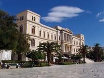 byggnadsgreece neoclassical syros Arkivfoto