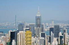 byggnadsHong Kong modern panorama Royaltyfri Fotografi