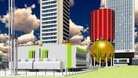 Byggnadskonstruktion av tolkningen för kärnkraftverk 3d Royaltyfria Foton