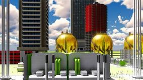 Byggnadskonstruktion av tolkningen för kärnkraftverk 3d Fotografering för Bildbyråer