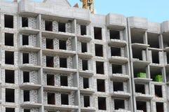Byggnadskonstruktionsplats från betong och tegelsten Royaltyfri Bild