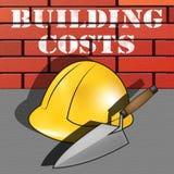 Byggnadskostnader föreställer illustrationen för huskonstruktion 3d stock illustrationer