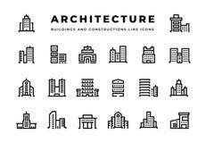 Byggnadslinje symboler Cityscape med skyskrapaaffärsmitt och moderna kontorshotell och radhus royaltyfri illustrationer