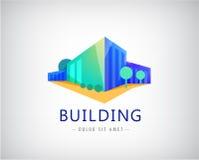 Byggnadslogo för vektor 3d, symbol för affärskontor Royaltyfri Bild