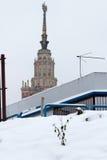 byggnadslomonosovhuvudmoscow delstatsuniversitet Ryssland Arkivbild