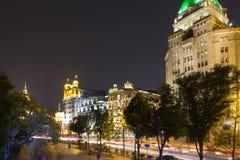 byggnadsnatt shanghai Arkivbild