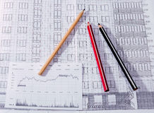 Byggnadsplanet, blyertspenna Arkivfoton