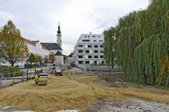 Byggnadsplats på klostervägen av Tulln Royaltyfria Bilder