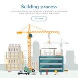 Byggnadsprocess oavslutat byggande kran vektor illustrationer