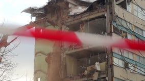 Byggnadsrivning i Moskva lager videofilmer