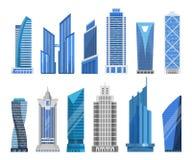 Byggnadsskyskrapor i en plan stil vektor illustrationer