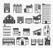 Byggnadssymboler royaltyfri illustrationer