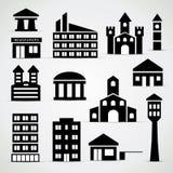 Byggnadssymbolsuppsättning Arkivfoto
