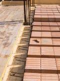 Byggnadstjock skiva som göras av förstärkt betong Royaltyfri Foto
