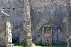 Byggnadsväggar, Pompeii arkeologisk plats, nr Mount Vesuvius, Italien Arkivfoto