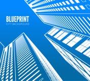 Byggnadswireframe 3d framför staden stock illustrationer