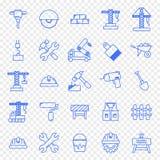 Byggnationsymbolsuppsättning 25 symboler stock illustrationer