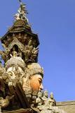 Byggt helt av trä without spikar, fristaden av sanning i Thailand stad Pattaya Royaltyfri Foto