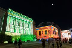 Bygone Geelong light projection on the Geelong Town Hall facade during White Night Geelong. Geelong, Australia - October 13, 2018: Bygone Geelong light stock photos