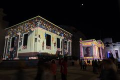 Bygone Geelong light projection on the Geelong Town Hall facade during White Night Geelong. Geelong, Australia - October 13, 2018: Bygone Geelong light royalty free stock photo