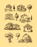 Byhus exponeringsbärbar datorlampa skissar stil vektor illustrationer