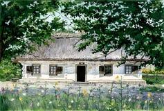 Byhus i Ukraine2 Arkivfoto