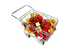 Bying a bunch of gifts. Buying a bunch of gifts on white background royalty free stock photography