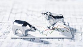 Byk, niedźwiedź i ceny akcji Obrazy Stock