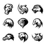 Byk, nosorożec, wilk, orzeł, kobra, aligator, pantera, knur głowa odizolowywał wektorowego loga pojęcie royalty ilustracja