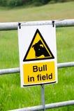 Byk w śródpolnym znaku ostrzegawczym Obrazy Stock