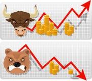 Byka i niedźwiedzia strzałkowatej gospodarki biznesowa mapa z złotymi monetami Zdjęcia Stock