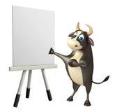 Byka postać z kreskówki z białą deską Zdjęcia Royalty Free