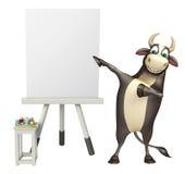 Byka postać z kreskówki z białą deską Obraz Royalty Free
