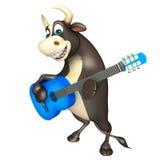 Byka postać z kreskówki z gitarą Zdjęcia Royalty Free