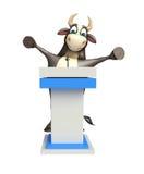 Byka postać z kreskówki z mowa stołem Zdjęcie Royalty Free