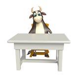 Byka postać z kreskówki z stołem i krzesłem Obrazy Stock