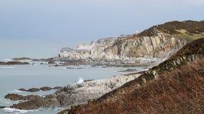 Byka punkt Mortehoe Anglia i latarnia morska Fotografia Royalty Free