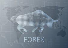 Byka symbol i słowo rynki walutowi ilustracji