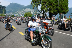 Bykers of the parade to the Swiss Harley Days at Lugano on Switz Royalty Free Stock Images