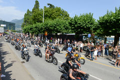 Bykers of the parade to the Swiss Harley Days at Lugano on Switz Stock Image